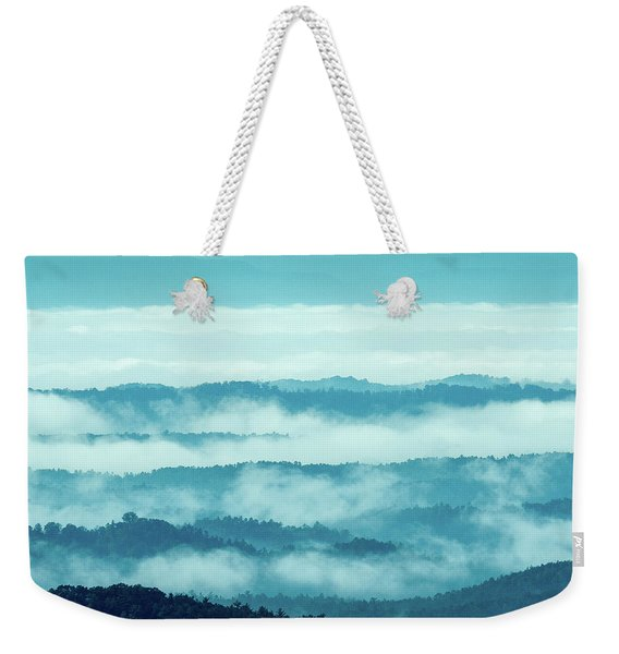 Blue Ridge Mountains Layers Upon Layers In Fog Weekender Tote Bag