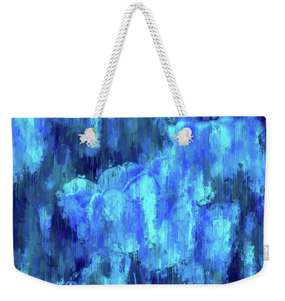 Blue Tulips On A Rainy Day Weekender Tote Bag