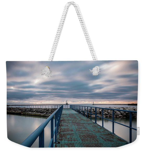 Blue Walk Weekender Tote Bag