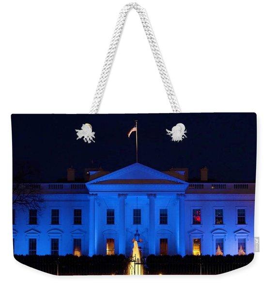 Blue White House Weekender Tote Bag