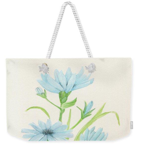 Blue Wildflowers Watercolor Weekender Tote Bag