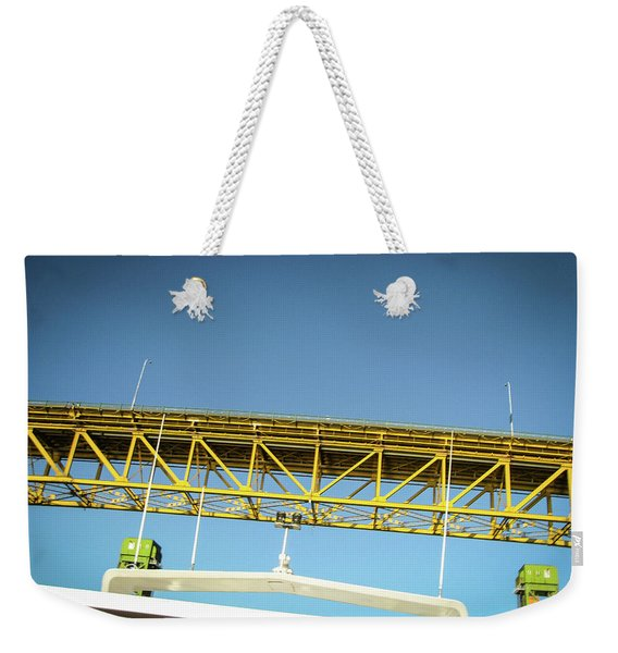 Weekender Tote Bag featuring the photograph Blue, Yellow And Green by Juan Contreras