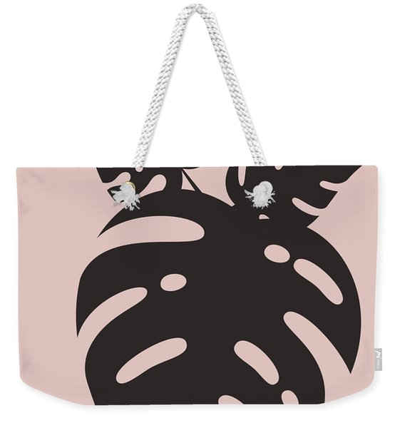 Blush Pink Monstera Leaves Weekender Tote Bag