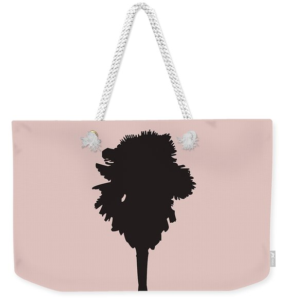 Blush Pink Palm Tree Weekender Tote Bag