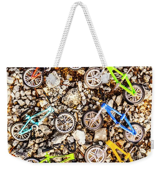 Bmx Pebble Race Weekender Tote Bag