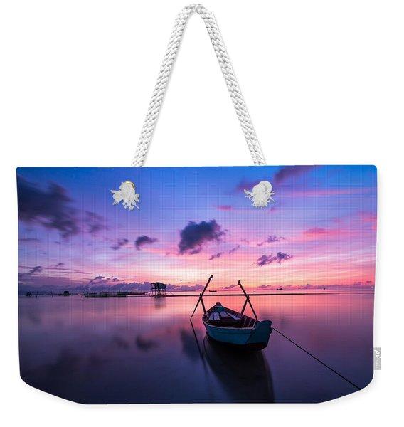 Boat Under The Sunset Weekender Tote Bag