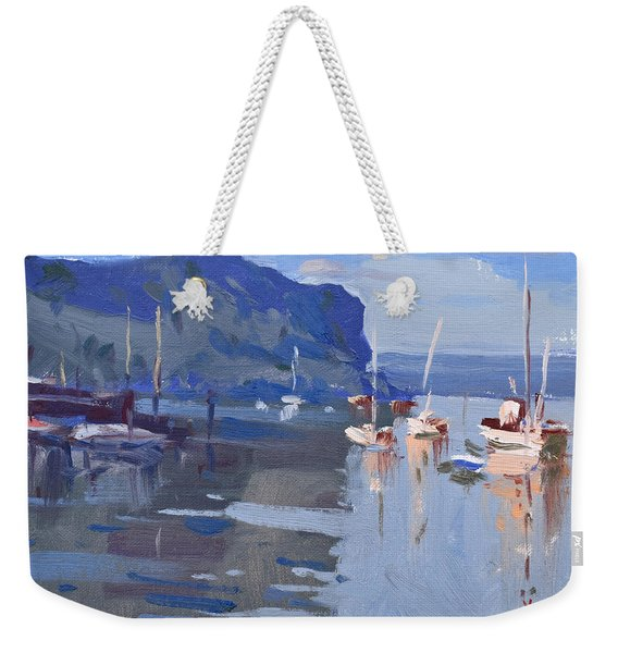 Boats At Hudson River In Rockland County Weekender Tote Bag