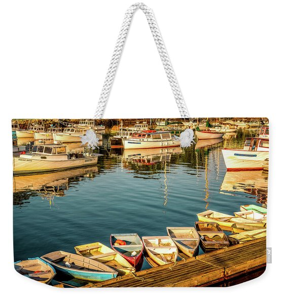 Weekender Tote Bag featuring the photograph Boats In The Cove. Perkins Cove, Maine by Jeff Sinon