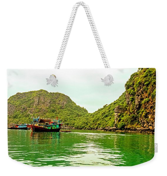 Boats On Halong Bay, Vietnam Weekender Tote Bag