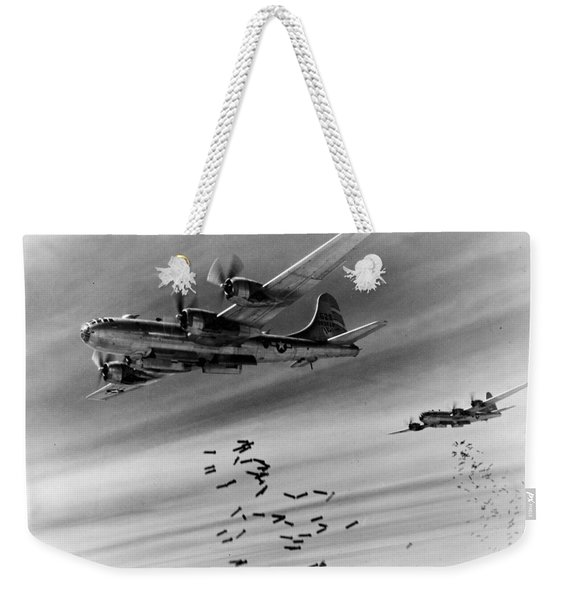 Boeing B-29s Drop Bombs Over Rangoon, Burma. Nearest Aircraft Is B-29-25-ba Weekender Tote Bag