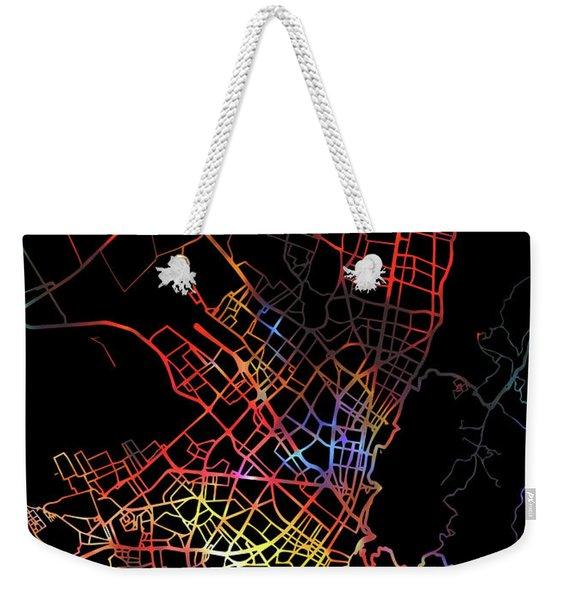 Bogota Colombia City Street Map Watercolor Dark Mode Weekender Tote Bag