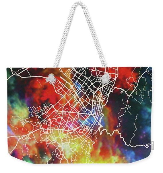 Bogota Colombia Watercolor City Street Map Weekender Tote Bag
