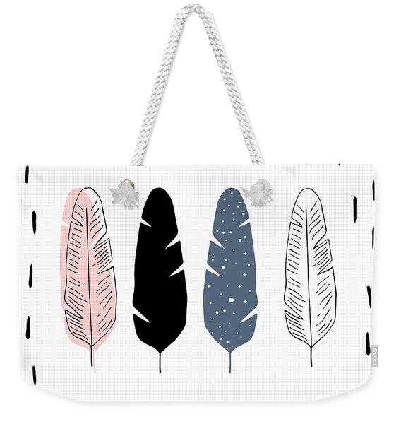 Boho Feathers - Boho Chic Ethnic Nursery Art Poster Print Weekender Tote Bag