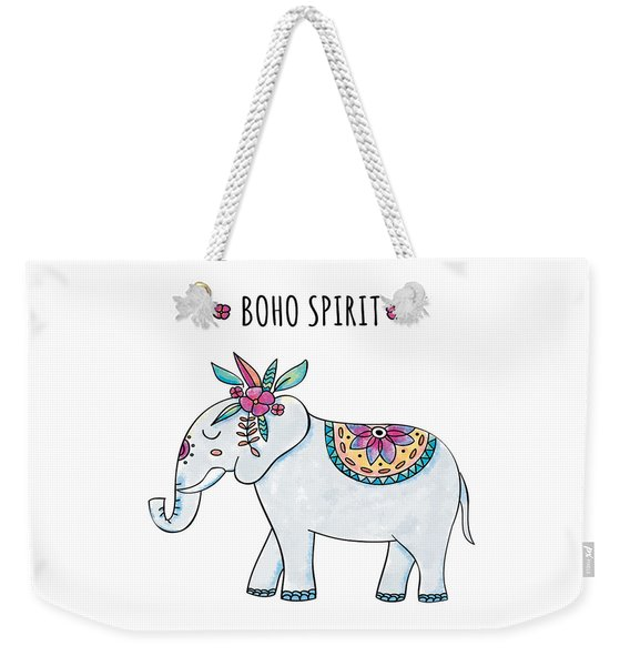 Boho Spirit Elephant - Boho Chic Ethnic Nursery Art Poster Print Weekender Tote Bag