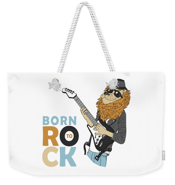 Born To Rock - Baby Room Nursery Art Poster Print Weekender Tote Bag