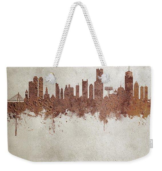 Boston Massachusetts Rust Skyline Weekender Tote Bag