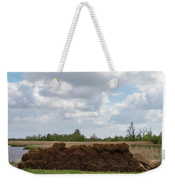 Weekender Tote Bag featuring the photograph Bound Reeds by Anjo Ten Kate