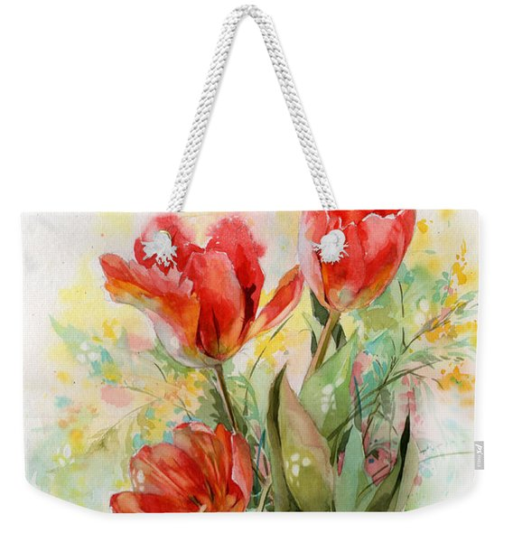 Bouquet Of Red Tulips Weekender Tote Bag