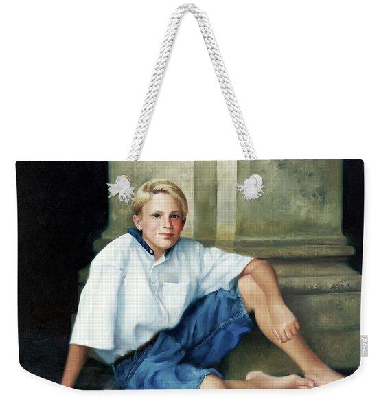 Boy With Column Weekender Tote Bag
