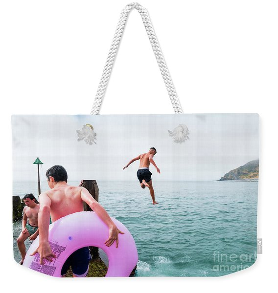 Boys Jumping Into The Sea Weekender Tote Bag
