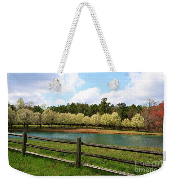 Bradford Pear Trees Blooming Weekender Tote Bag