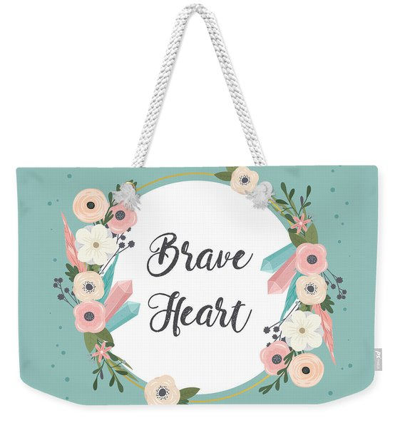 Brave Heart - Boho Chic Ethnic Nursery Art Poster Print Weekender Tote Bag