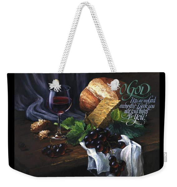 Weekender Tote Bag featuring the painting Bread And Wine by Clint Hansen
