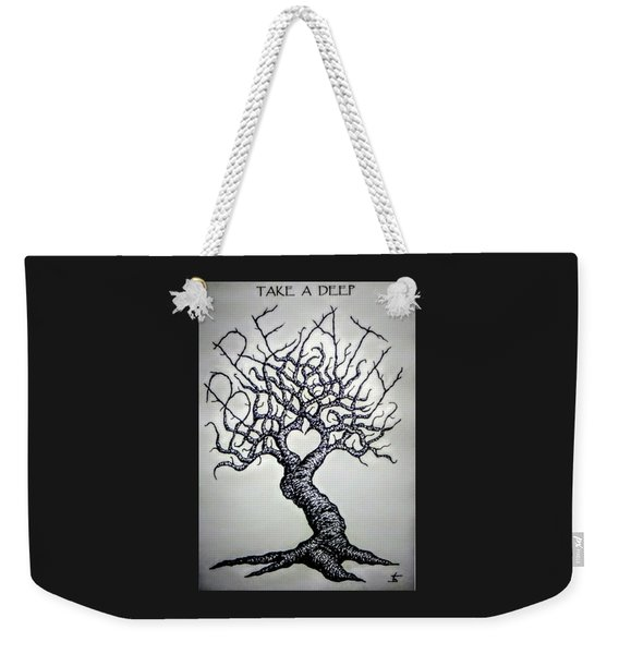 Weekender Tote Bag featuring the drawing Breathe Love Tree - Blk/wht by Aaron Bombalicki
