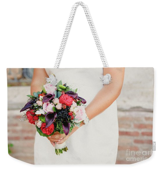 Bridal Bouquet Held By Her With Her Hands At Her Wedding Weekender Tote Bag