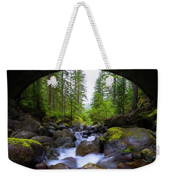 Bridge Below Rainier Weekender Tote Bag