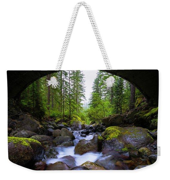 Bridge Below Rainier Weekender Tote Bag
