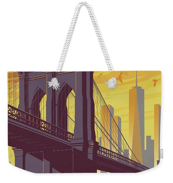 Brooklyn Bridge Poster - New York Vintage Weekender Tote Bag