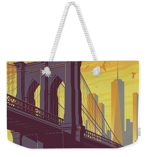 Brooklyn Poster - Vintage Brooklyn Bridge Weekender Tote Bag