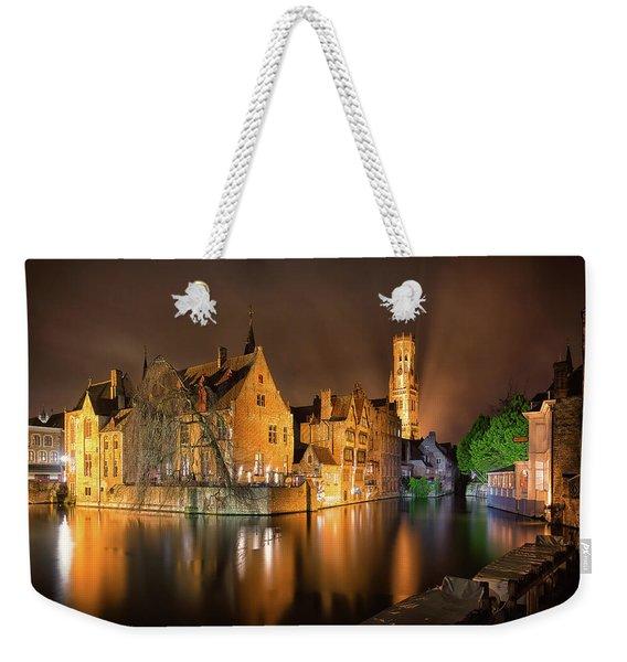 Brugge Belgium Belfry Night Weekender Tote Bag