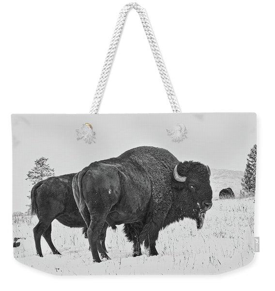 Buffalo In The Snow Weekender Tote Bag