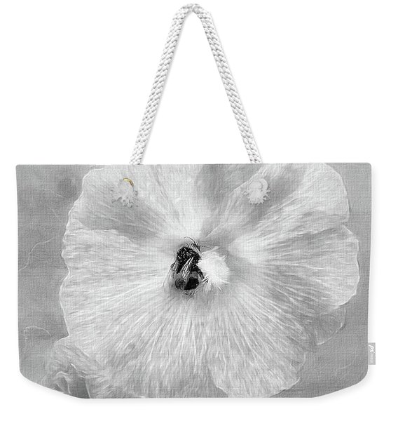Bumblebee Snacking Delicate Hollyhock Bw Weekender Tote Bag