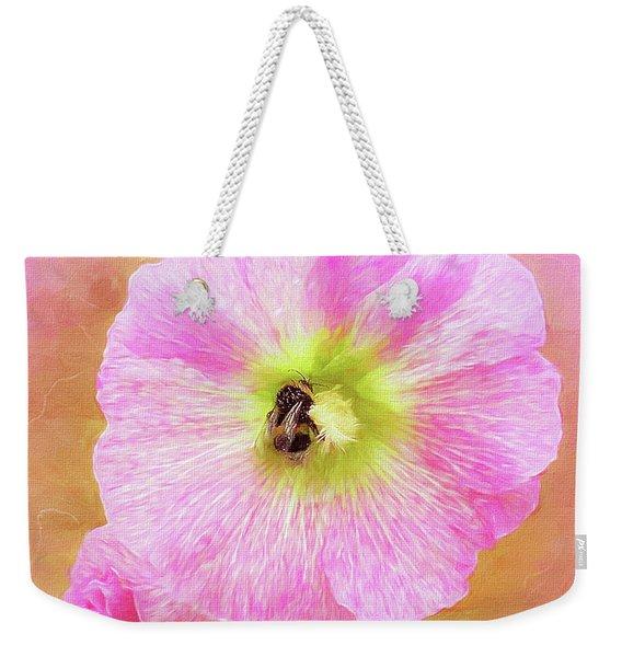 Bumblebee Snacking Delicate Hollyhock Weekender Tote Bag