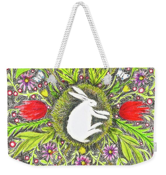 Bunny Nest With Red Flowers And White Butterflies Weekender Tote Bag