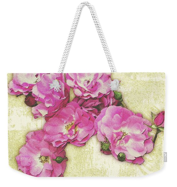 Bush Roses Painted On Sandstone Weekender Tote Bag