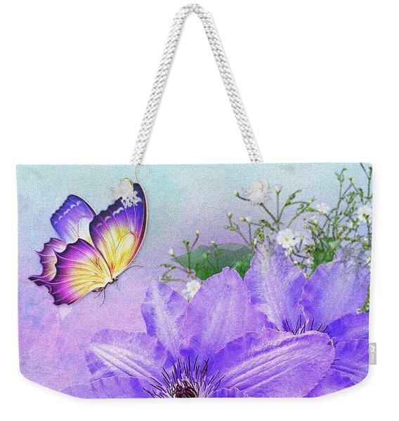 Butterfly On Clematis Weekender Tote Bag