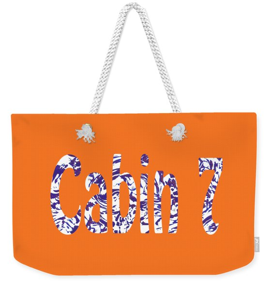 Cabin 7 Blue White Orange Weekender Tote Bag