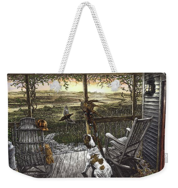 Weekender Tote Bag featuring the drawing Cabin Fever by Clint Hansen