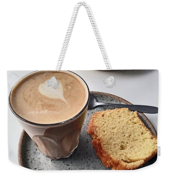 Cafe. Latte And Cake.  Weekender Tote Bag