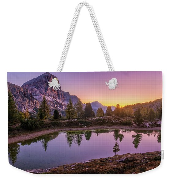 Weekender Tote Bag featuring the photograph Calm Morning On Lago Di Limides by Dmytro Korol