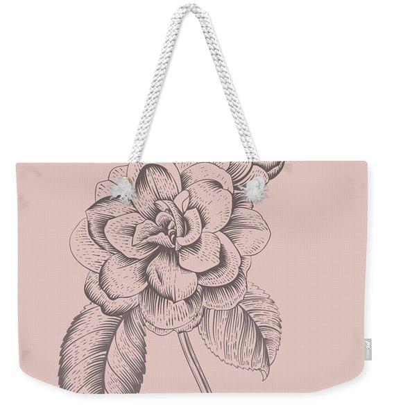 Camellia Blush Pink Flower Weekender Tote Bag