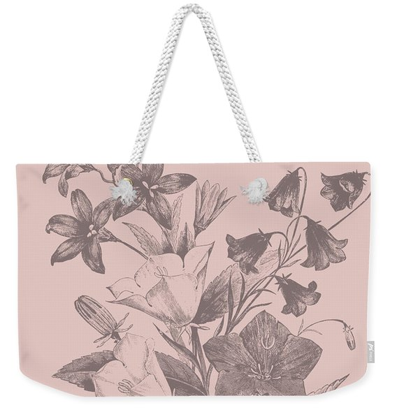 Campanulas Blush Pink Flower Weekender Tote Bag