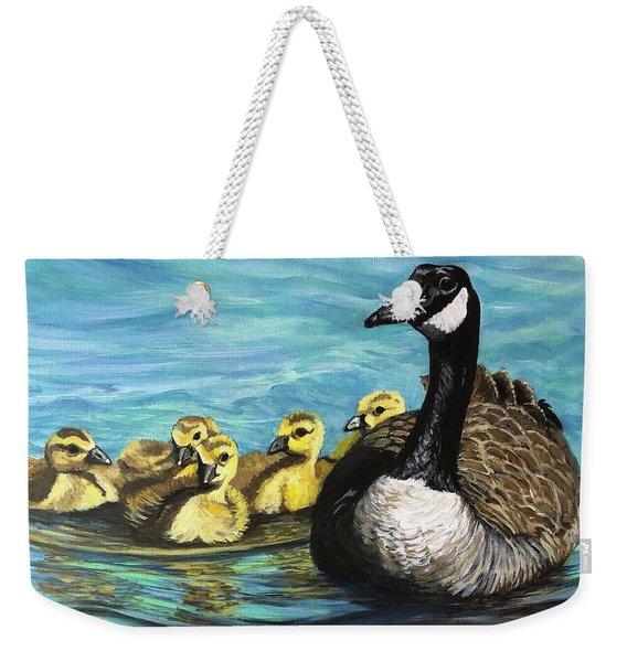 Canadian Goise And Goslings Weekender Tote Bag
