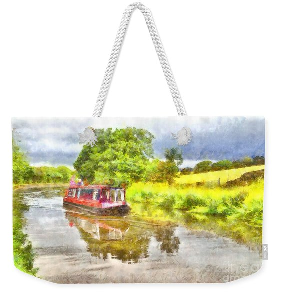 Canal Boat On The Leeds To Liverpool Canal Weekender Tote Bag