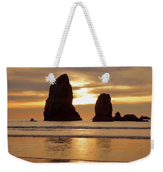 Cannon Beach November Sunset Weekender Tote Bag