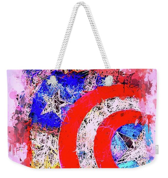 Weekender Tote Bag featuring the mixed media Captain America Watercolor by Al Matra